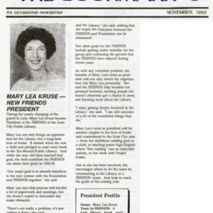 1992 Mary Lea Kruse New Friends President