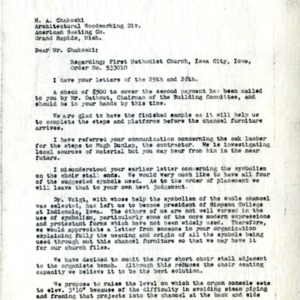 Letter from A.M. McLeod to H.A. Chakoski of The American Seating Company